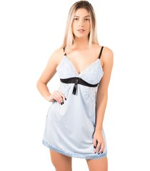 camisola bella fiore modas lisa com laã§o isis azul claro - azul - feminino - poliã©ster - dafiti