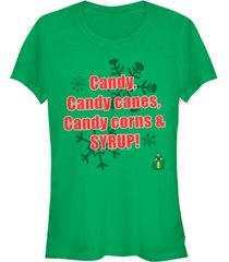 fifth sun elf four main food groups candy, candy canes, candy corns, and syrup juniors short sleeve t-shirt