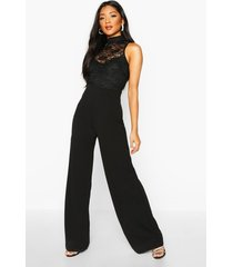 lace high neck 2 in 1 wide leg jumpsuit, black