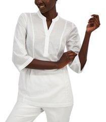 alfani cotton split-neck top, created for macy's