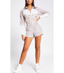 river island womens cream colour blocked long sleeve playsuit