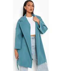 oversized nepwollen jas met ceintuur, turquoise