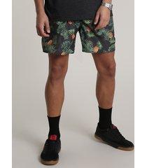 short masculino estampado de abacaxi com bolso preto