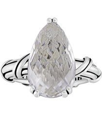 fantasies pear white topaz or citrine cocktail ring in sterling silver