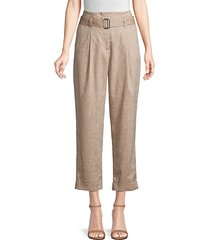 peserico women's cropped wool & linen pants - cafe - size 48 (12)