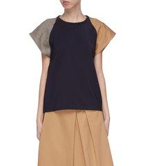 'gertrude' colourblock sleeves patchwork t-shirt