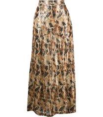ba & sh printed silk skirt - neutrals