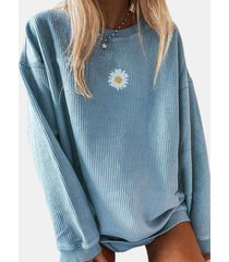 camicetta a costine a maniche lunghe con stampa floreale a margherita casual per donna