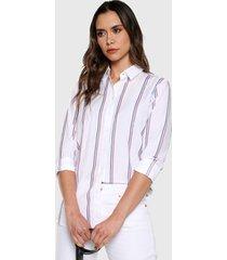 camisa blanco-multicolor tommy hilfiger