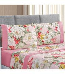 jogo de cama forest floral rosa solteiro micropercal 200 fios 03 peã§as - rosa - dafiti