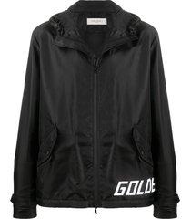 golden goose logo print hooded jacket - black