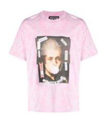 versace jeans couture camiseta de algodão com estampa gráfica - rosa