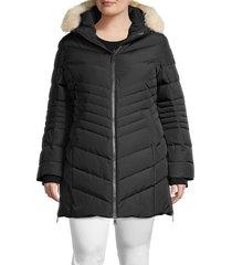pajar women's plus crystal fox fur-trim down puffer jacket - military - size 0x (10-12)
