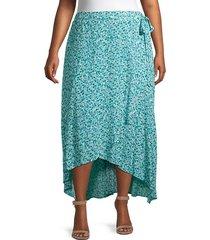 plus buttercup floral wrap skirt