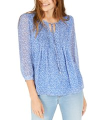 tommy hilfiger printed pintucked top