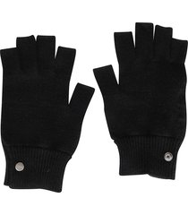rick owens black wool gloves