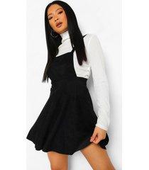 petite corduroy pinafore jurk, black