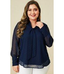 blusa con diseño amarrado de talla grande yoins plus