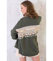 ibiza tassel jacket army