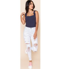 women's gwendalynn high rise distressed jeans in denim by francesca's - size: 7