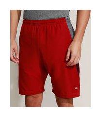 bermuda masculina esportiva ace com recortes e bolso vermelha