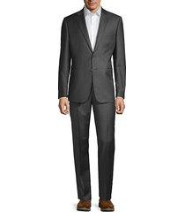 slim-fit micro-check wool suit