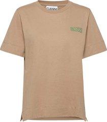 thin software jersey t-shirts & tops short-sleeved beige ganni