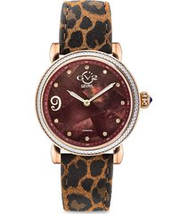 gv2 women's ravenna stainless steel, mosiac mother-of-pearl, diamond & leopard-print suede strap watch