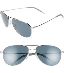 women's oliver peoples benedict 59mm aviator sunglasses - silver/ dark blue