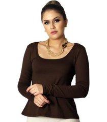blusa ficalinda manga longa decote redondo evasê feminina
