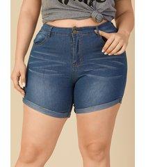 plus botón de talla diseño bolsillo diseño shorts de mezclilla
