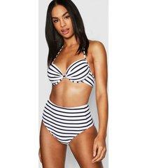 tall nautical stripe high waist bikini set, black