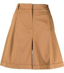 twinset high-waist wide-leg shorts - brown