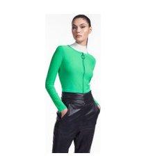 casaco de tricot cropped abertura zíper verde flash verde flash
