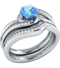 0.1ctw round cut topaz & simulated diamond wedding bridal ring set