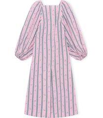 ganni stripe long sleeve organic cotton seersucker dress, size 14 us in pink nectar at nordstrom