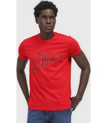 camiseta ellus estampada vermelha