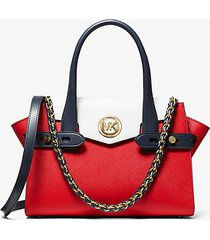 mk borsa a mano carmen piccola in pelle saffiano color-block - brt red mlti - michael kors