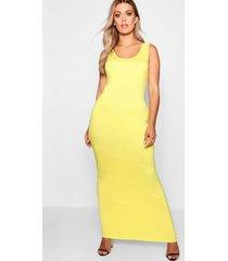 plus maxi jurk met diepe hals, geel