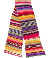 etro pleated multi-stripe scarf - pink