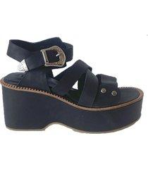 sandalia de cuero negra florte peonia