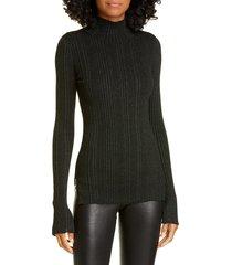 women's helmut lang rib metallic merino wool sweater