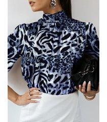 camicetta da donna con colletto alla coreana manica lunga stampata leopardata