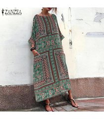 zanzea vestido camisero de manga larga con manga murciélago para mujer vestido estampado floral de kaftan -verde