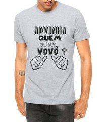 camiseta criativa urbana adivinha eu vovô tribal manga curta - masculino