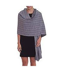 alpaca blend reversible shawl, 'dream of huancayo in grey' (peru)