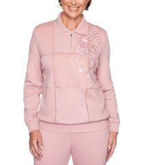 alfred dunner petite all about ease embroidered box knit top
