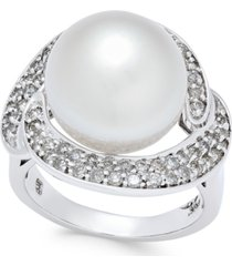 cultured south sea pearl (13mm) and diamond (5/8 ct. t.w.) ring in 14k white gold