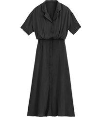 lång skjortklänning med kort ärm