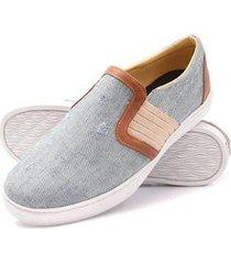 sapatênis click calçados tecido jeans masculino - masculino